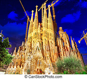 Sagrada Familia, beautiful and majestic outdoor view Barcelona.