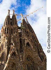 Sagrada Familia cathedral facade, Barcelona, Spain - famouse...