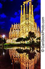 sagrada familia, en, majestueus, buiten, aanzicht, barcelona.