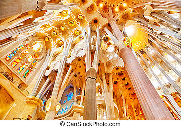 Sagrada Familia,beautiful and majestic interior...