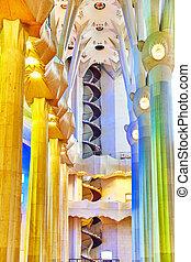 Sagrada Familia,beautiful and majestic  interior view.