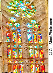 Sagrada Familia,beautiful and majestic interior...