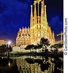 Sagrada Familia,beautiful and majestic  outdoor  view  Barcelona.