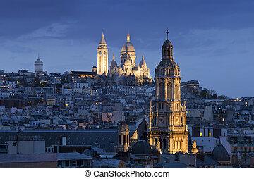 sagrado, coeur, sacre, (basilica, noche, heart), montmartre...