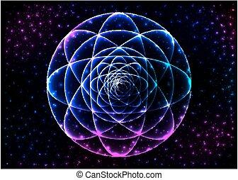 sagrado, geometria, símbolo., mandala, mistério, elemento