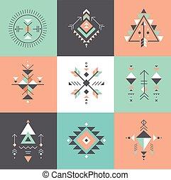 sagrado, símbolos, azteca, formas, geometría, místico, alquimia, tribal, esotérico