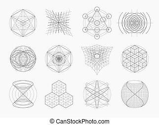 sagrado, símbolos, geometría, elementos, set.
