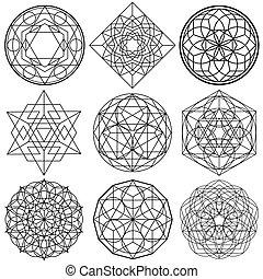 sagrado, símbolos, -, geometría, vector, conjunto, 01