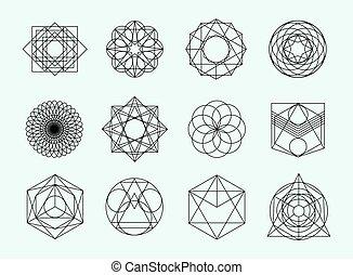 sagrado, símbolos, hipster, resumen, geometría, collection., fondo., elementos, blanco, espiritual, místico, conjunto, alquimia