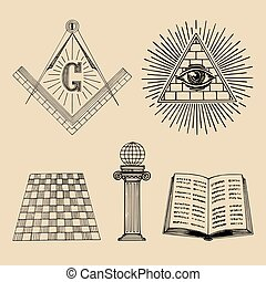 sagrado, símbolos, masonic, vector, collection., sociedad, logos., esotérico, set., iconos, ilustraciones, emblemas, francmasonería