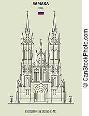sagrado, samara, iglesia, corazón, señal, russia., icono