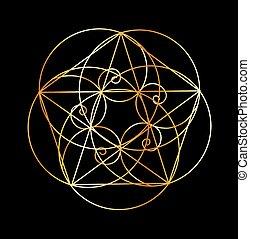 sagrado, spiral-, geometría, fibonacci