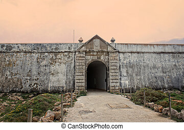 Sagres fortress entrance in rugged terrain - Rugged terrain ...