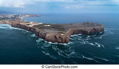 Sagres Fortress on cape in Portugal - Aerial panorama of the...