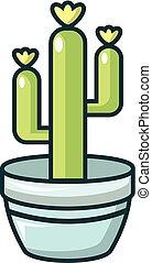 Saguaro cactus icon, cartoon style - Saguaro cactus icon....