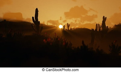 Saguaro Cactus in Desert against beautiful morning Sunrise,...
