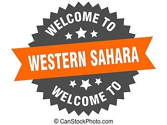 sahara, adesivo, bem-vindo, sinal., ocidental, laranja