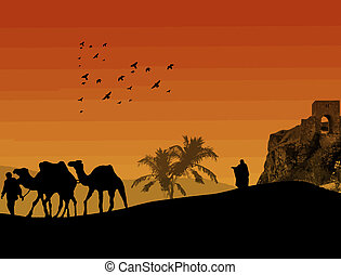 Camels in Sahara with bedouin and lonley shepherd, on orange sunset