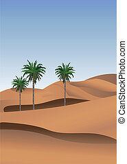 Sahara - Background illustration of the desert with palm ...