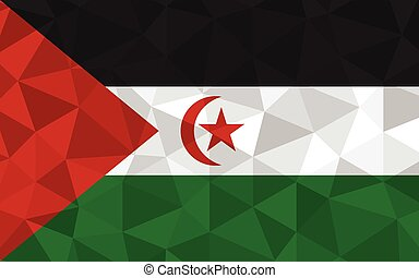 sahara, bandiera, simbolo, illustration., poly, triangolare...