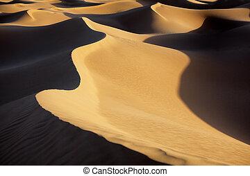 Sahara desert sand dunes.