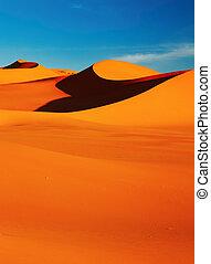 Sahara Desert - Sand dune in Sahara Desert at sunset,...
