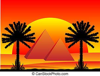Sahara desert with egyptian pyramids at sunset - vector illustration.
