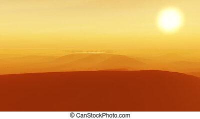 sahara, oasis, coucher soleil, (1091b), désert