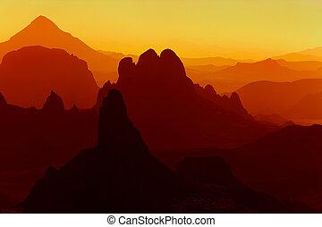sahara wüste, sonnenaufgang
