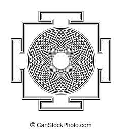 sahasrara, ilustración, monocrome, contorno, yantra