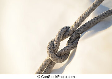 sai, noeud carré, marins, il, utilisé, récif, reefing,...