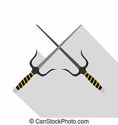 Sai weapon icon, flat style - Sai weapon icon. Flat...