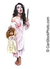 saignement, psychotic, image, femme