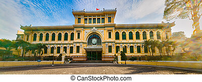saigon, central, panorama, oficina, poste, vietnam.