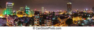 saigon, nuit, panorama, ville