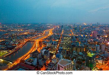 saigon, panorama, de, la ciudad, por la noche