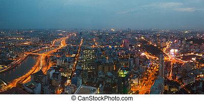 saigon, panorama, de, ville, soir