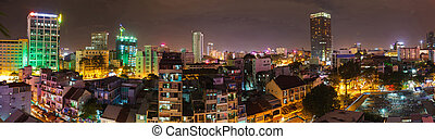 Saigon panorama of the city at night