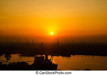 saigon, río, salida del sol