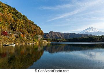 Saiko Lake and mount Fuji in Autumn