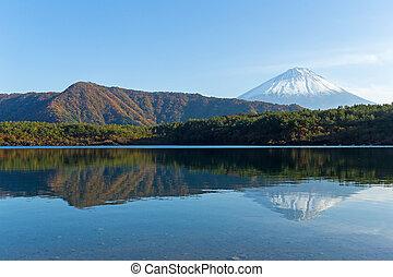 Saiko Lake and mount Fuji