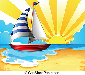 Sail and beach - Illustration of a sail parking near the...