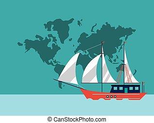 sail boat emblem image - sail boat and world map emblem...