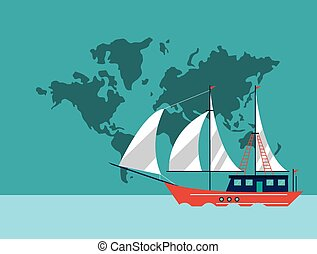 sail boat emblem image - sail boat and world map emblem...