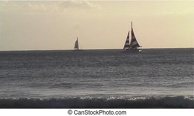 Sail Boat - Sail boats on the pacific ocean