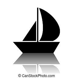 Sail Boat icon. Black vector illustration with reflection.