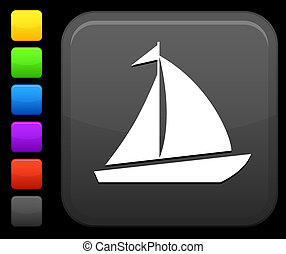 sail boat icon on square internet button - Original vector ...