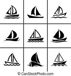 Sail boat icons set vector illustration