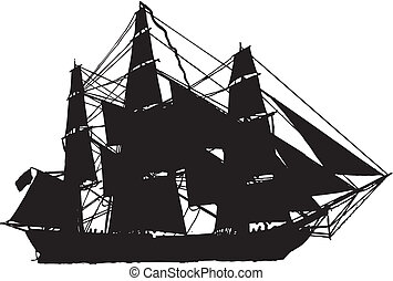 sail boat in silhouette