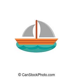 sail boat nautical cartoon icon on white background